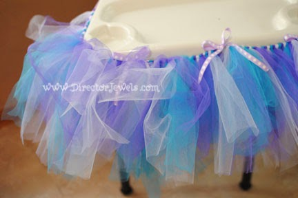 Baby Girl Purple and Teal Turquoise First Birthday Owl Party www.directorjewels.com - High Chair Tutu