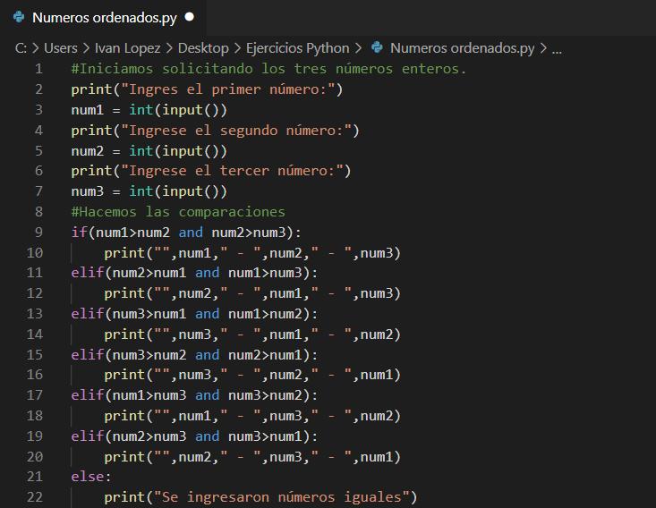 Pedir tres números y mostrarlos ordenados en Python