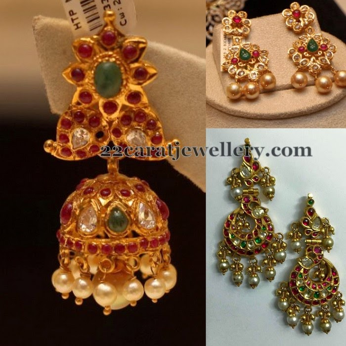 Kundan Earrings with 22 Carat Gold - Jewellery Designs