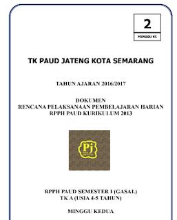 Contoh RPPH TK A Kurikulum 2013 (Minggu 2 Semester 1)