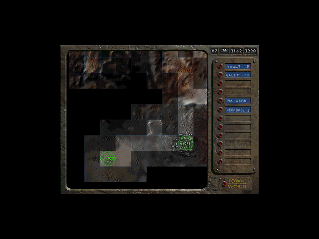 Screenshot of map screen in the original Fallout