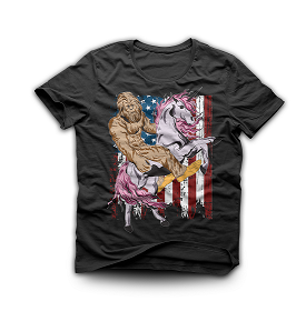 Sasquatch Bigfoot Riding Unicorn Vintage American Flag Shirt