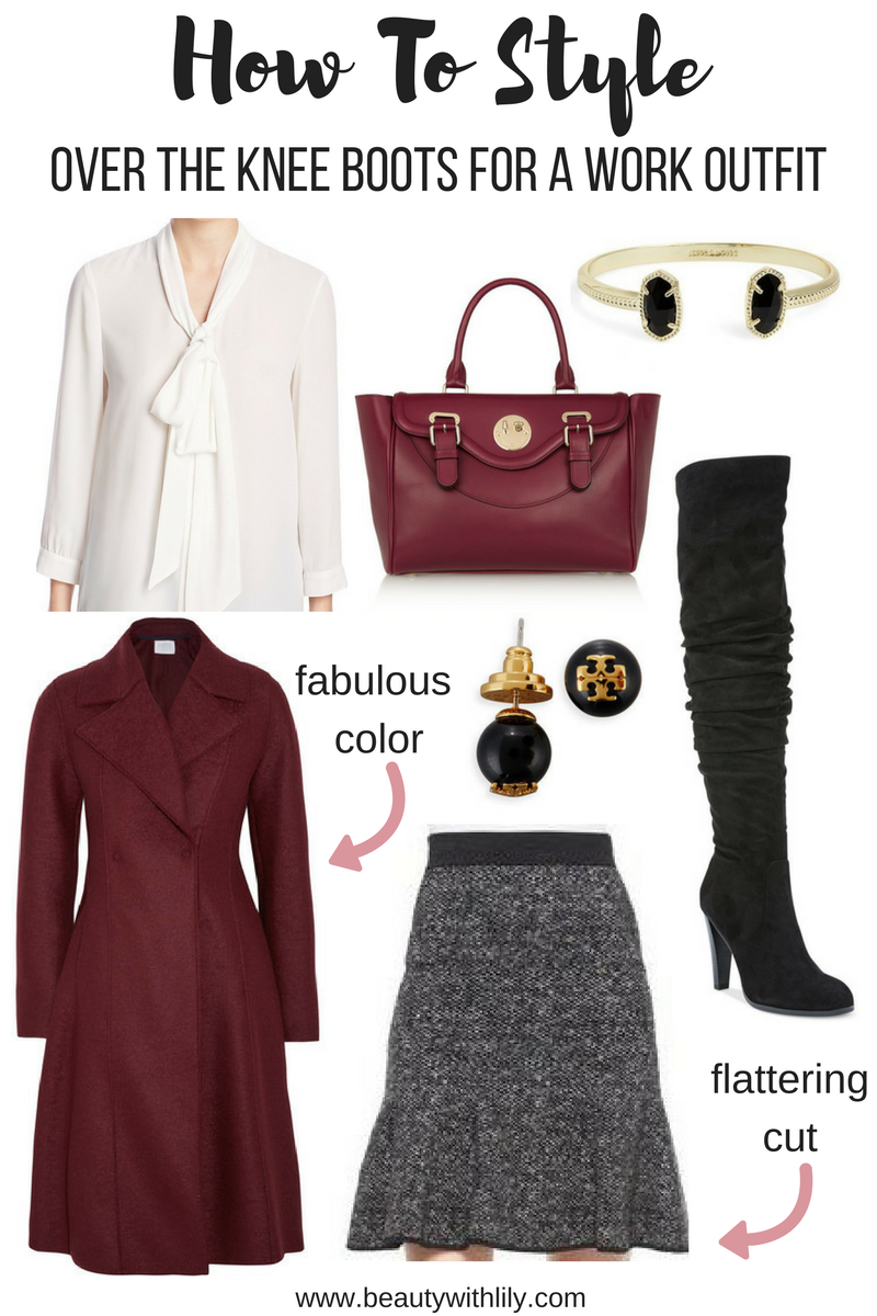 How to Style Over The Knee Boots for a Work, Professional Outfit