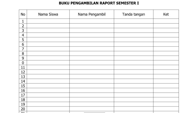 Contoh Bentuk Buku Pengambilan Raport Semester 1 (Ganjil) dalam Administrasi Guru Sekolah Format Ms. Word (doc/docx)