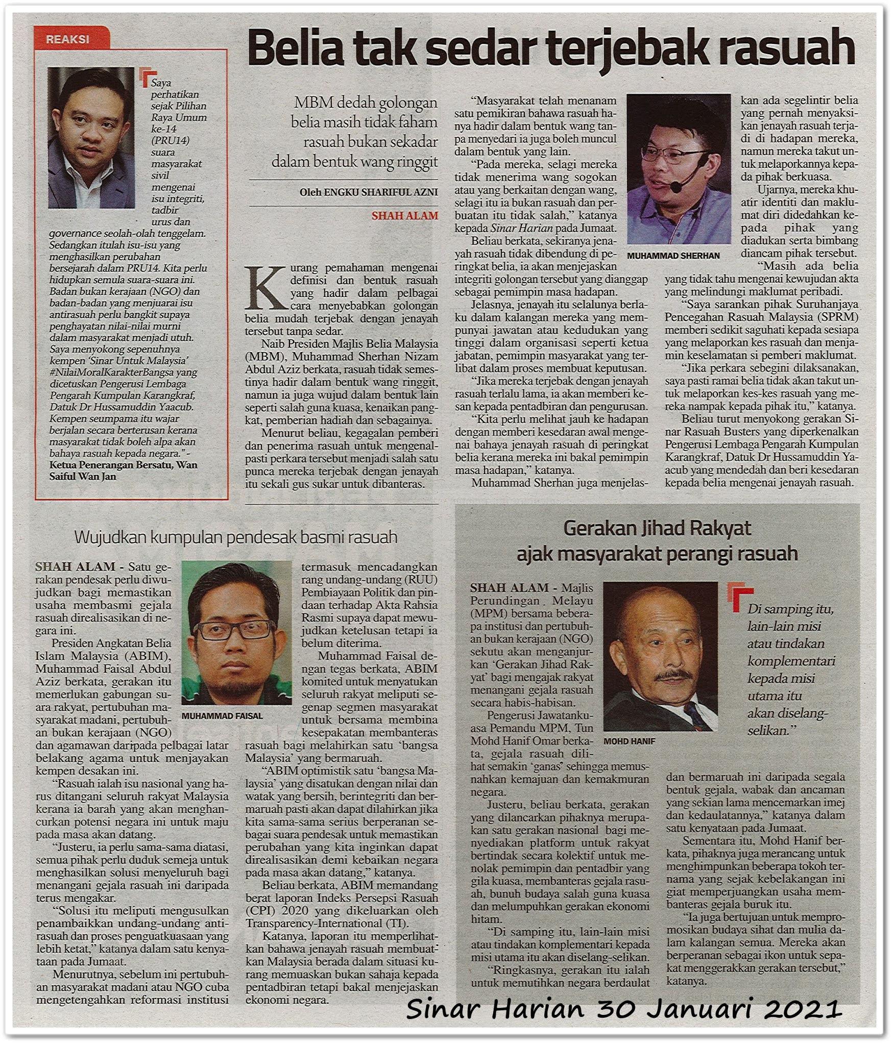 Rasuah di kalangan rakyat Malaysia - Keratan akhbar Sinar Harian 30 Januari 2021