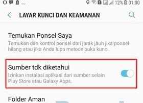 mengizinkan install aplikasi dari luar Play Store