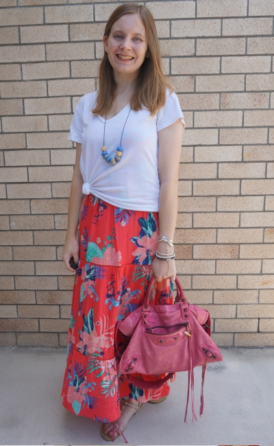 white tee layered over Kmart Tropicana sleeveless tiered maxi dress with pink Balenciaga bag |  away from the blue