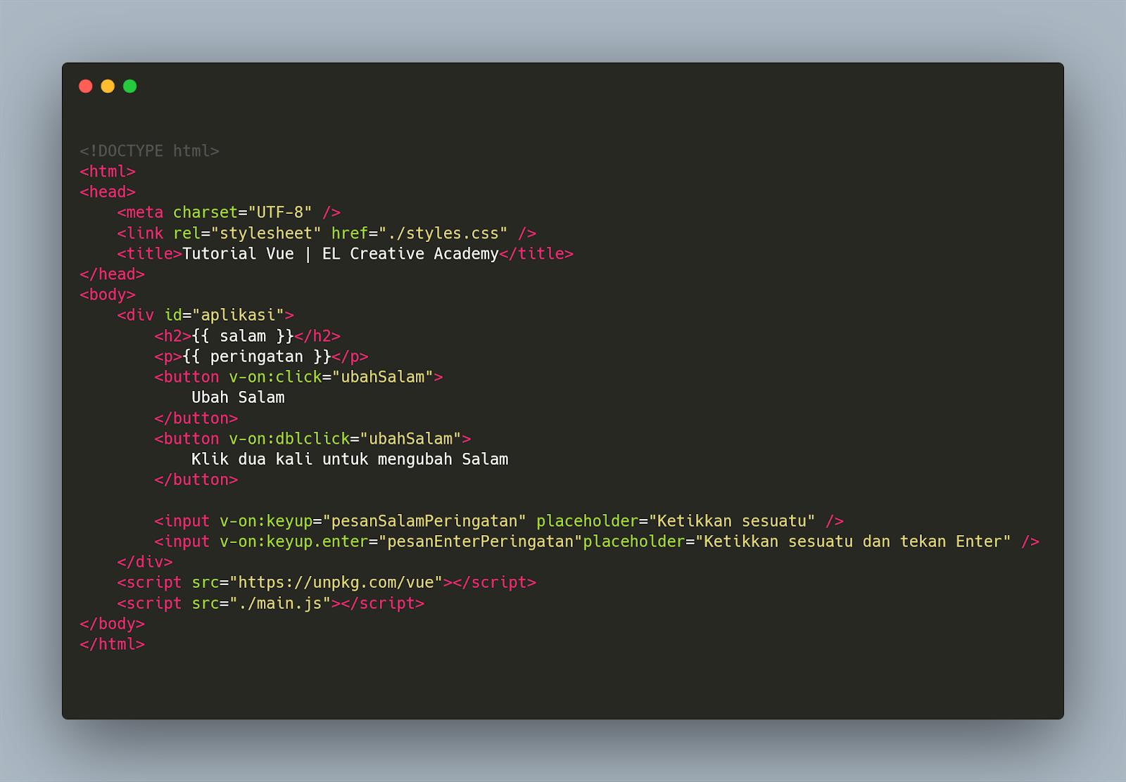 contoh Screenshot kode yang diambil dengan menggunakan Carbon