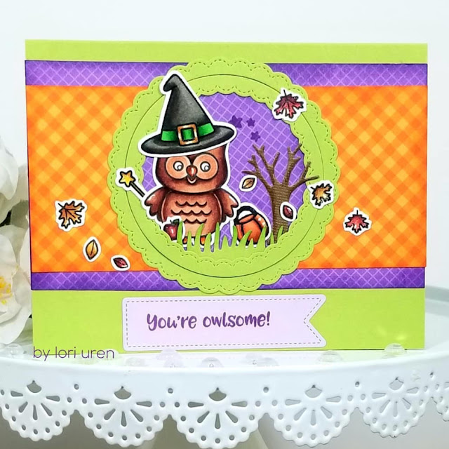 Sunny Studio Stamps: Happy Owl-o-ween Fancy Frame Dies Customer Halloween Card by Lori Uren