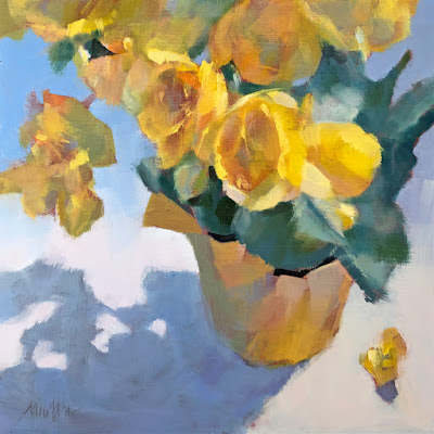 Yellow Begonia, oil, 10x10 inches