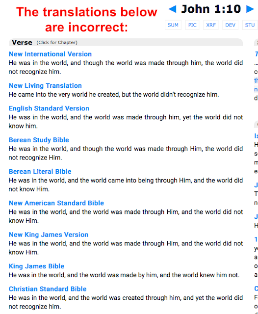 Firstly the correct translation of John 1:10 does NOT say: and the world was made through him,