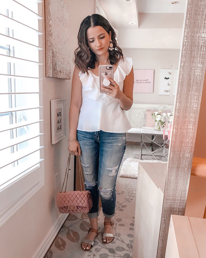 Summer 2018 Cute Summer Dress Blogger Outfit Forever21 White Ruffle Top Pink Velvet Quilted Shoulder Bag