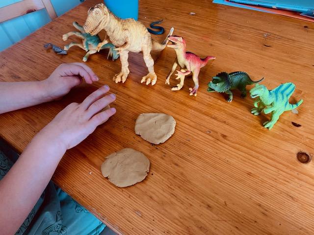 Little boy making salt dough fossils