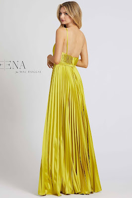 Pleated jump suit evening dress Ieena For Mac Duggal Chartreuse Color Back Side