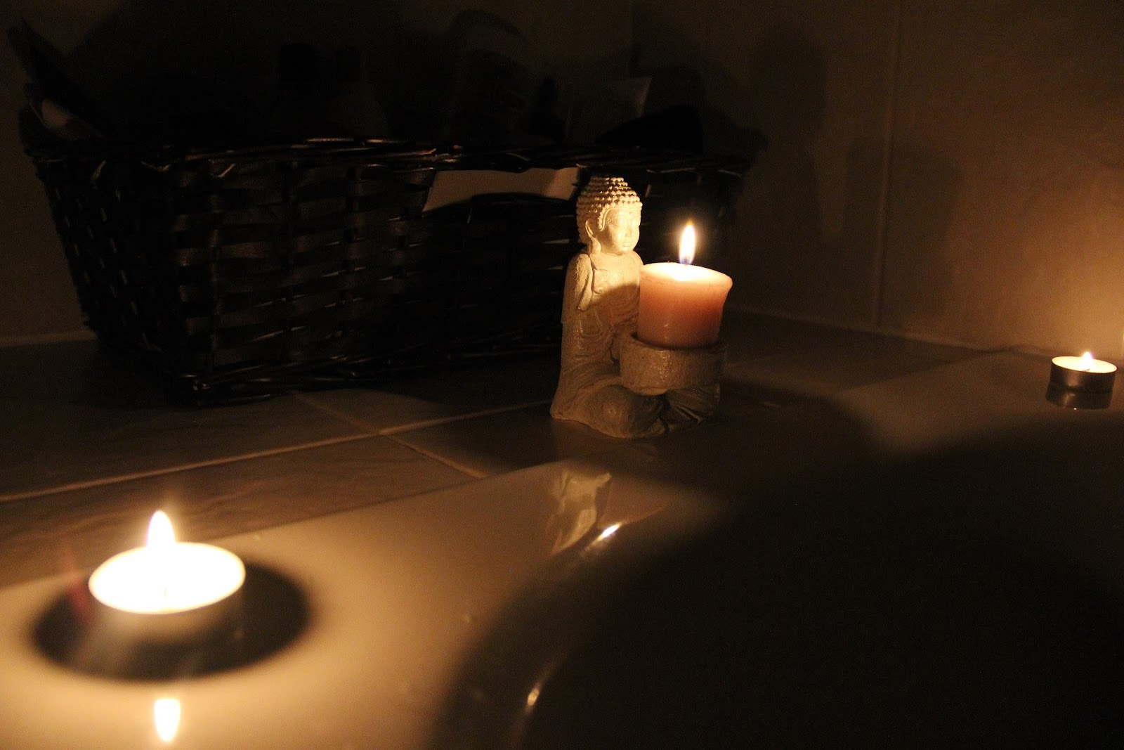 A bath and candles are the best way to relax.