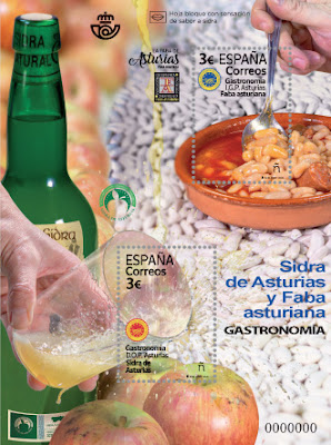 Hoja bloque, sellos, filatelia, sidra, faba, Asturias