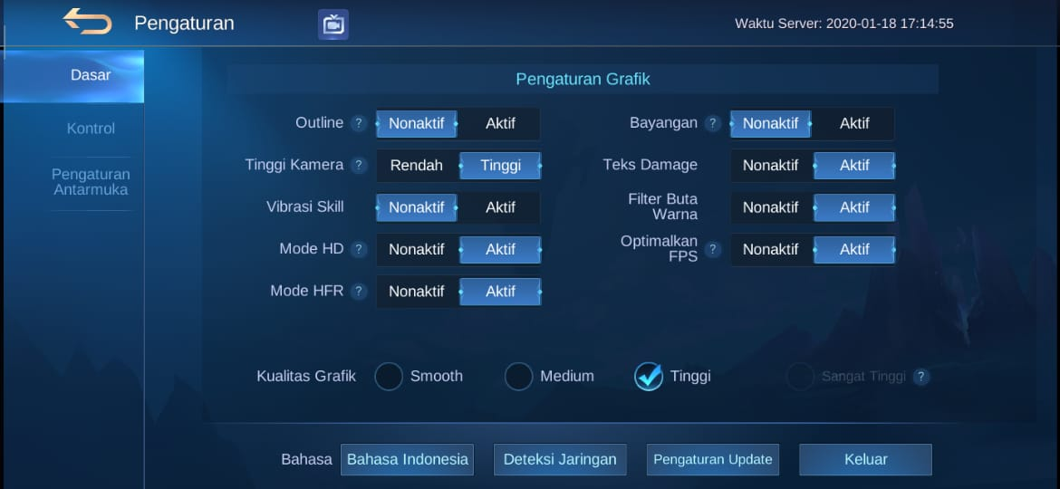 Setting low grafik untuk settingan Low HP kentang