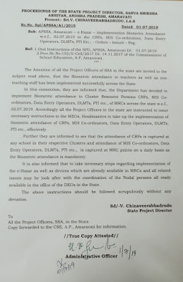 AP Biometric Attendance w.e.f., O2.O7.2019 to the CRPs, MIS Co-ordinators, Data Entry Operators, DLMTs, PTI Etc.  Order issued..