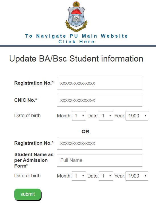 """How to fill BA B.Sc Data Collection Page Punjab University"" BA B.Sc Adp PU Data Collection"""