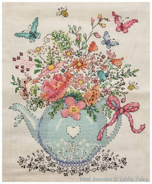 Blooming Teapot Completed Cross Stitch