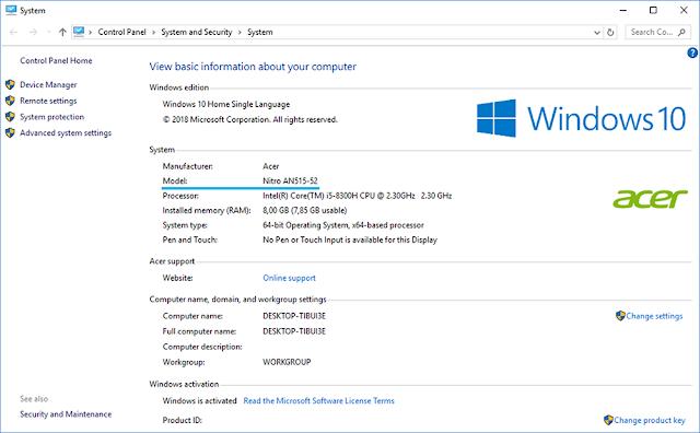 Basic Information Windows 10