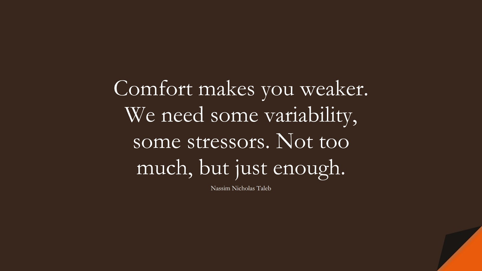 Comfort makes you weaker. We need some variability, some stressors. Not too much, but just enough. (Nassim Nicholas Taleb);  #StoicQuotes