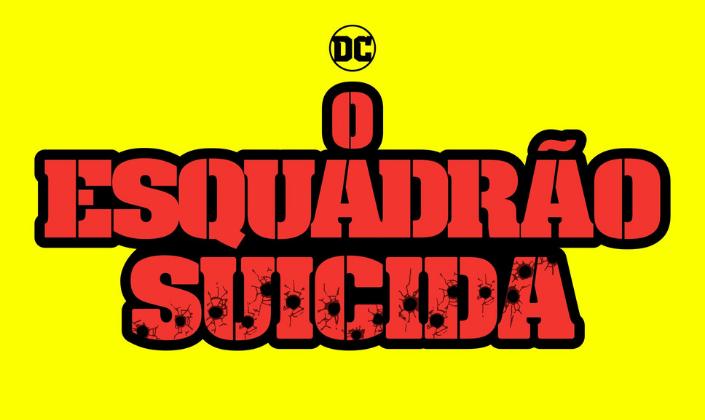 Imagem: fundo amarelo com o logo do filme O Esquadrão Suicida em vermelho como que feito em estêncil e com vários buracos de bala no título.