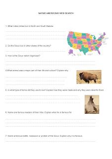 Teaching General English : web quest. Activité de recherche sur internet pour enseigner le vocabulaire et apprendre à connaitre les Indiens d'Amérique et  l'actualité au Dakota du Sud.