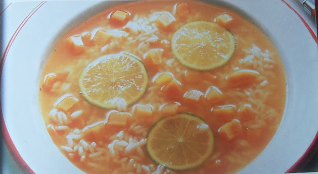 Carrot and Rice Soup with Lemon