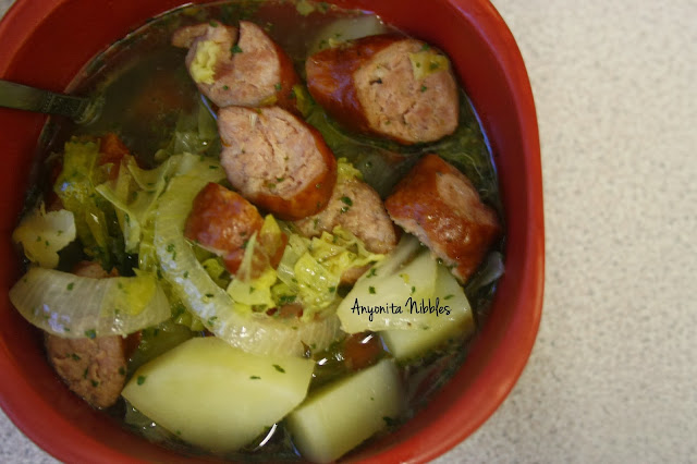 A bowl of kielbasa German beer stew from www.anyonita-nibbles.com