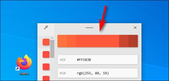 في Color Picker ، انقر فوق شريط الألوان لضبط قيم اللون.