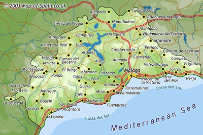 Torrox Espagne Carte.Malaga Tourism Map Region Map Of Spain Tourism Region And