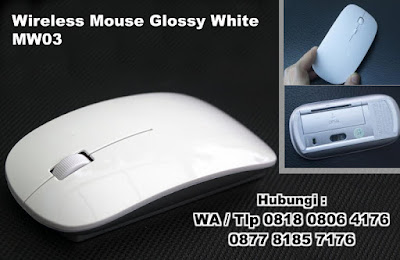 Mouse Promosi Wireless Mouse Glossy White MW03, USB Mouse, WIRELESS MOUSE MW03, mouse wireless, mouse wireless murah, Mouse murah, mouse promosi, mouse unik, mouse  Tipe MW03 berdesain slim dengan harga murah
