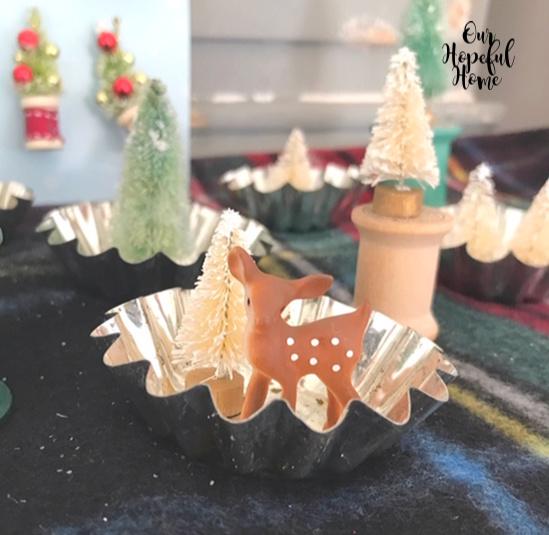 vintage tart tin miniature reindeer white bottle brush tree