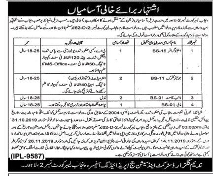 District and Session Court Lahore Jobs 2019