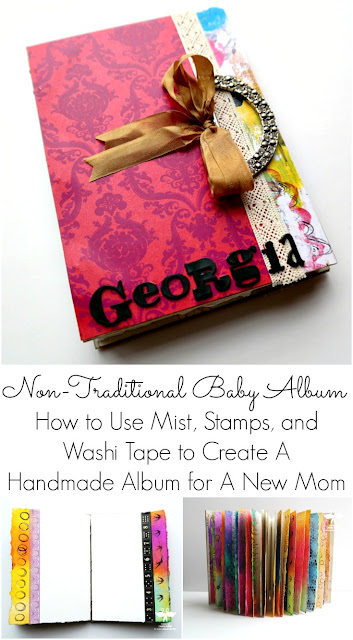 Non-Traditional Mixed Media Album for Baby Girl by Dana Tatar for Paper Wings Productions