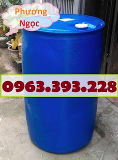 Thùng phuy nhựa nắp kín 220L đã qua sử dụng, thùng phuy nhựa 2 nắp nhỏ, thùng ph A6e24fa6320cd5528c1d