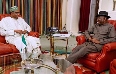 Buhari and Jonathan meet inside Aso rock