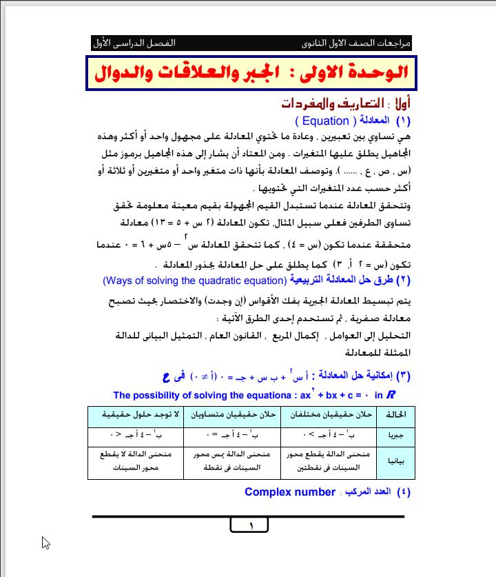 مراجعة نهائية رياضيات للصف الأول الثانوى الترم الأول لكل وحدة وبنك اسئلة موضوعية ومقالية للمستشار كمال كبشة