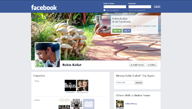 RK's Facebook Profile - Screen Shot