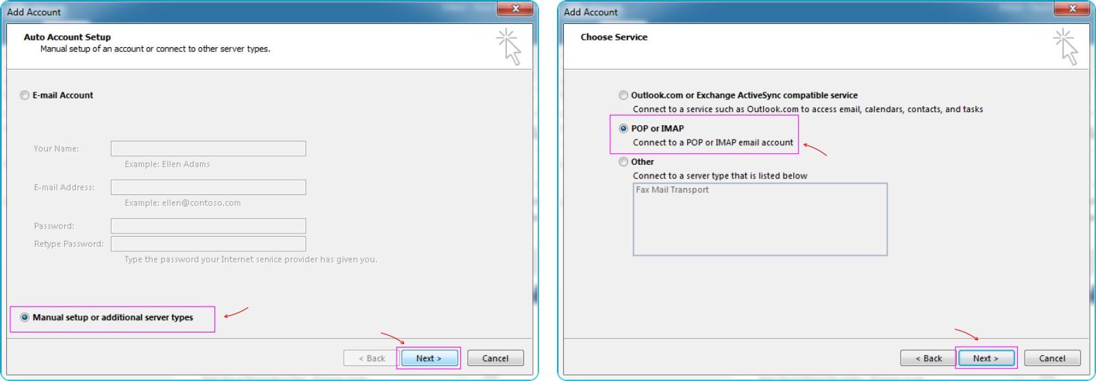 GMail Pada Outlook - Pilih Jenis Protokol Email