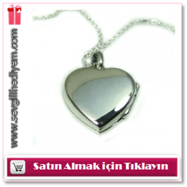 925 Ayar Gümüş İçine Fotoğraf Koyulan Düz Model Kalp Kolye