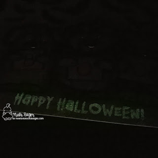 Monochromatic Halloween card by Naki Rager | Glow in the Dark Embossed Sentiment from Halloween Trio Stamp Set by Newton's Nook Designs #newtonsnook #thermoweb
