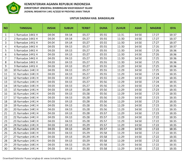 jadwal imsak waktu buka puasa Kabupaten Bangkalan 2020 m ramadhan 1441 h tomatalikuang.com
