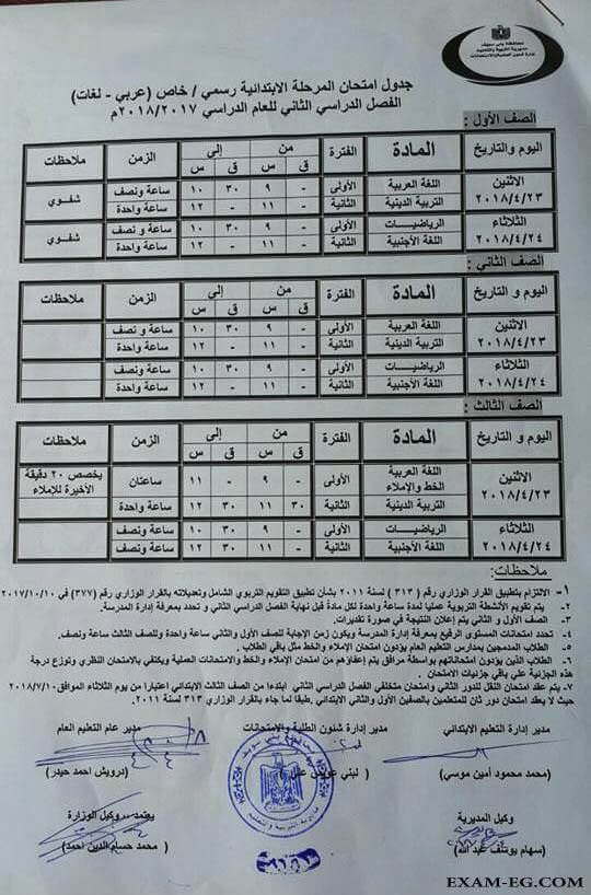 جدول امتحانات الصف الأول والثاني والثالث الابتدائي 2018 الترم الثاني محافظة القاهرة