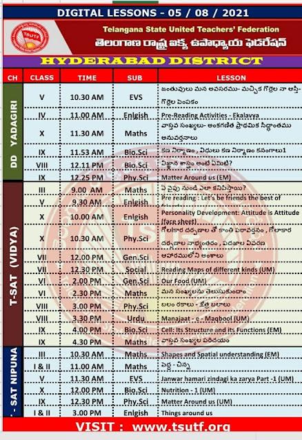 05-08-2021 TS SCERT Digital Classes Schedule and Worksheets Download