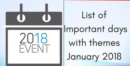 List of Important Days With Themes - January 2018