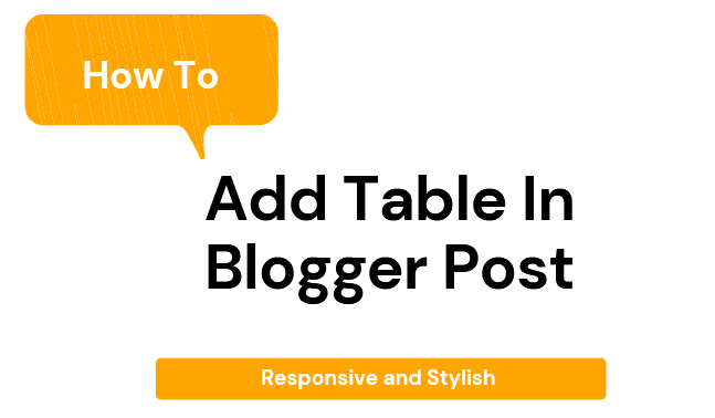 Table In Blogger Post