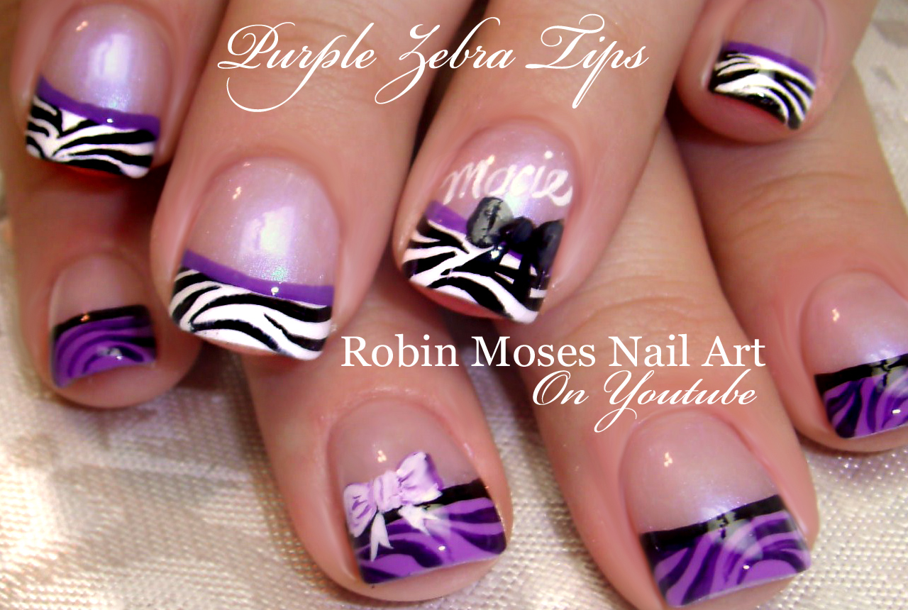 Nail Art By Robin Moses White Zebra Print On Pink Polish With Light