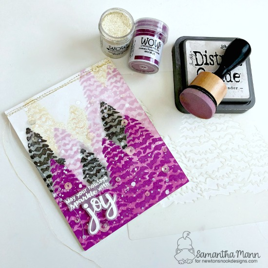 Newton's Nook Designs & WOW Embossing Powders Inspiration Week - Christmas card by Samantha Mann | Sentiments of the Season Stamp Set and Evergreens Stencil by Newton's Nook Designs with embossing powder by WOW! #newtonsnook #wowembossing